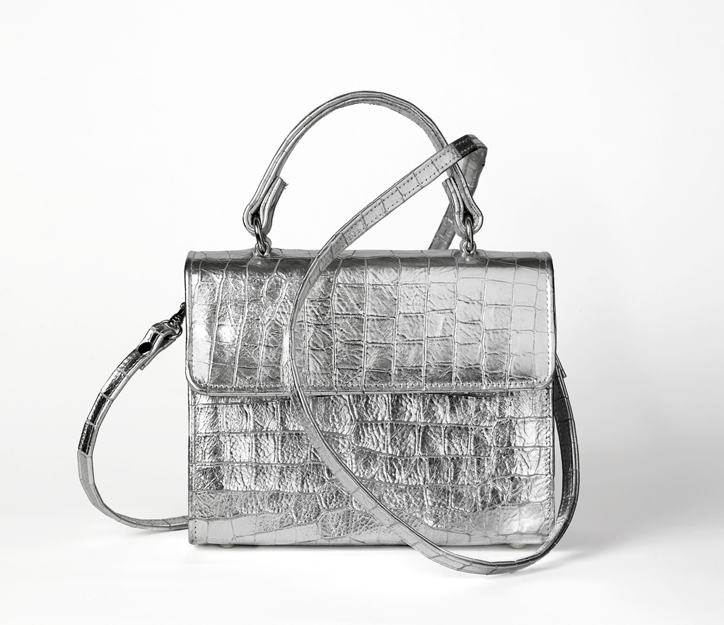 Silver Metallic Faux Croc Leather Handbag With Long Shoulder Strap