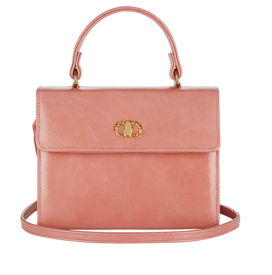Pink Leather Handbag With Strap