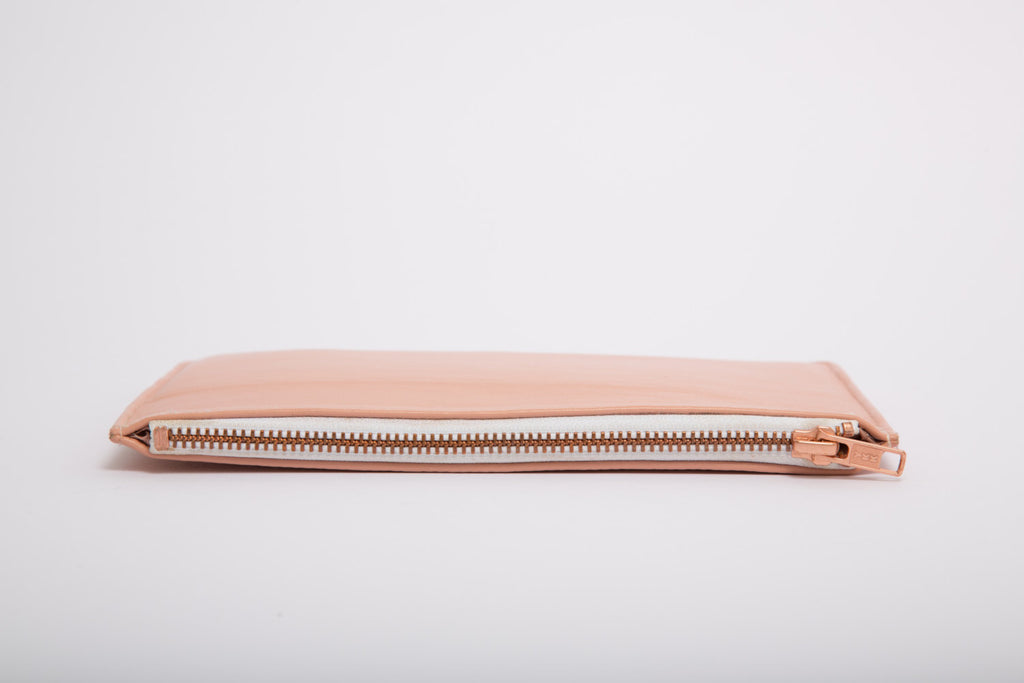Pink Pastel Nappa Real Leather Rectangle Clutch Bag With Rose Gold Zip