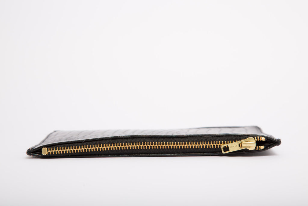 Black Faux Crocodile Leather Envelope Clutch Bag With Gold Zip