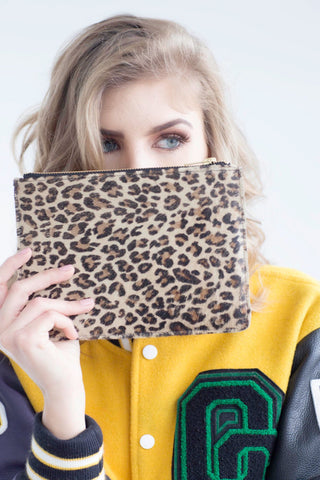 Faux Pony Skin Print Leather Clutch With Gold Zip