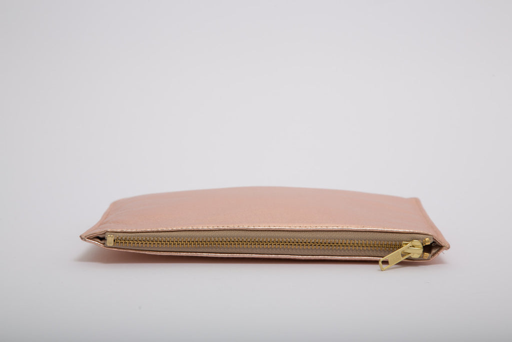 Metallic Rose Gold, Copper, Rectangle Real Leather Zip Clutch Bag