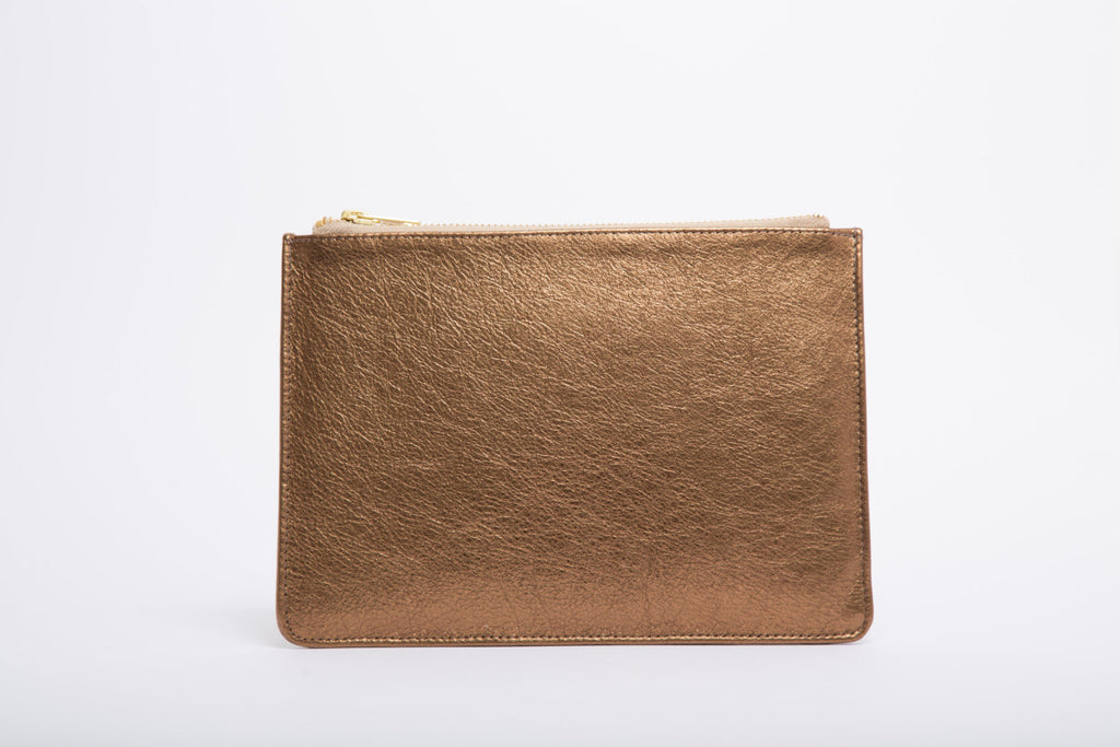 Metallic Bronze, Brown Rectangle Clutch Bag With Gold Zip