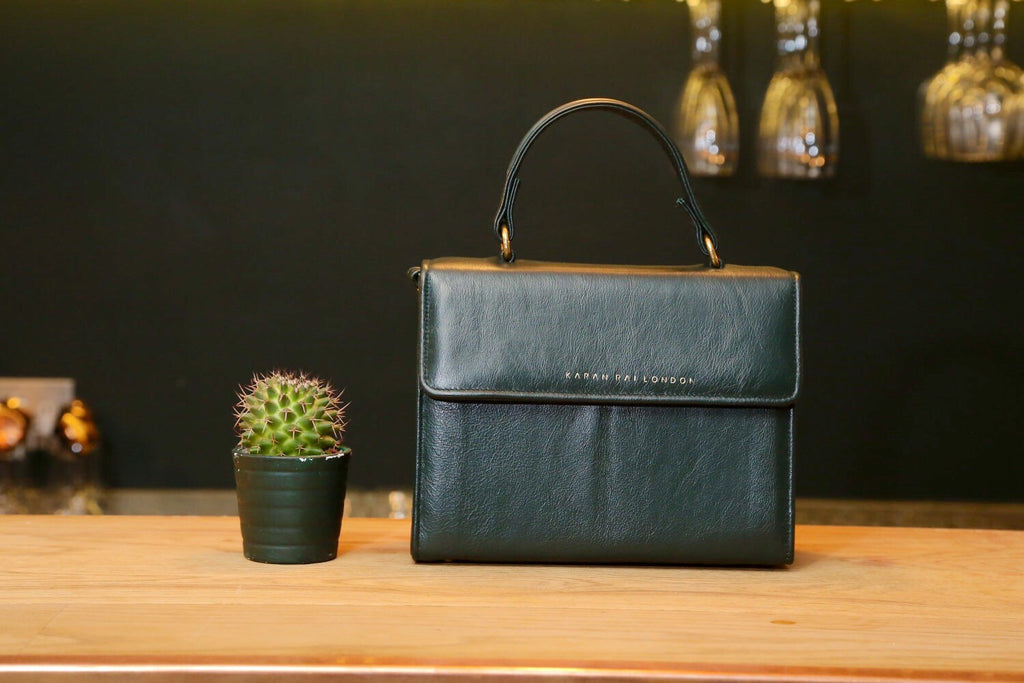 Bottle Green Nappa Leather Handbag With Long Shoulder Strap