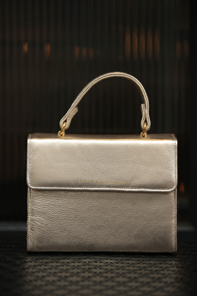 Soft, Gold, Genuine Nappa Leather Handbag With Long Shoulder Strap