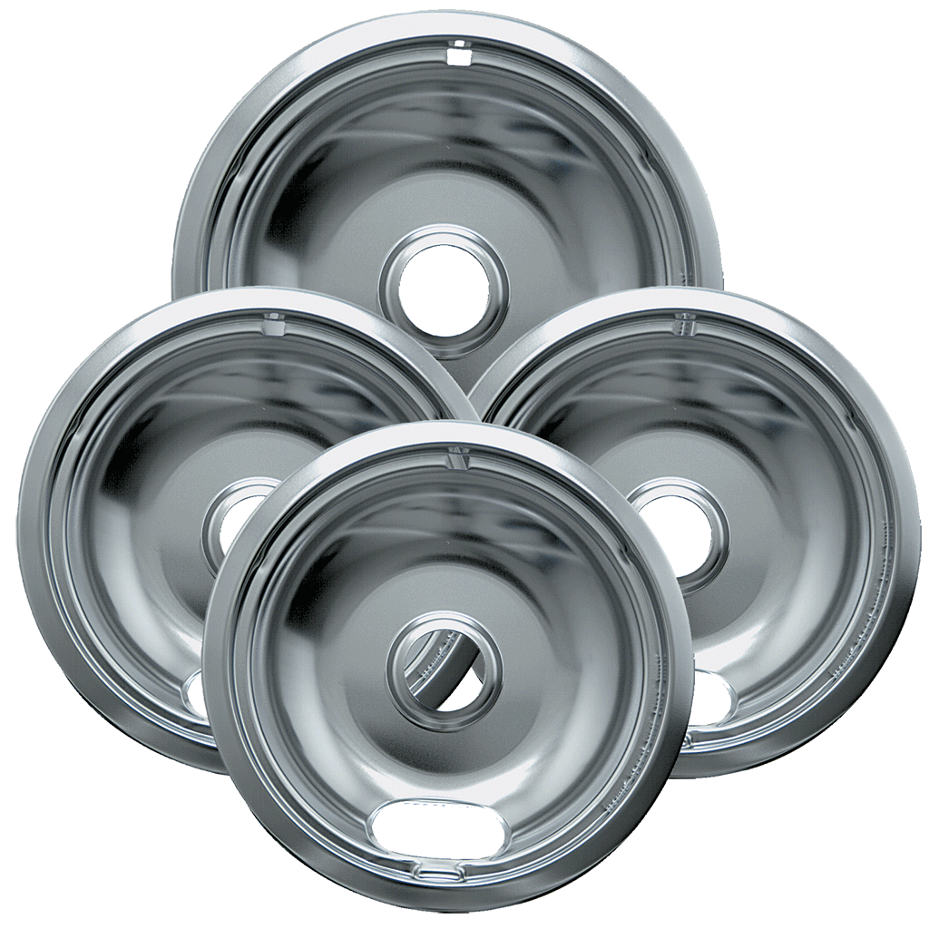 Photo of a 10124XZ - Style A 4 Pack Heavy Duty Chrome Drip Bowls - 3 Small/1 Large