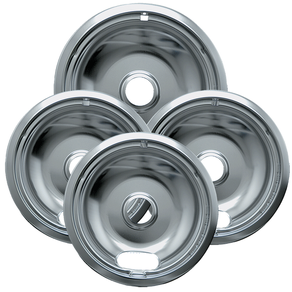 10124XZ - Style A 4 Pack Heay Duty Chrome Drip Bowls - 3 Small/1 Large