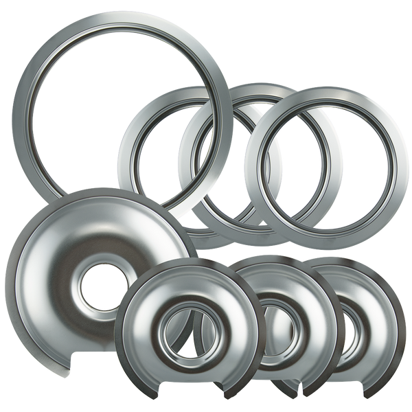 1056RGE8Z - Style D Heavy Duty Chrome 4-Pack Drip Pans 4-Pack Trim Rings, 3 Small/1 Large