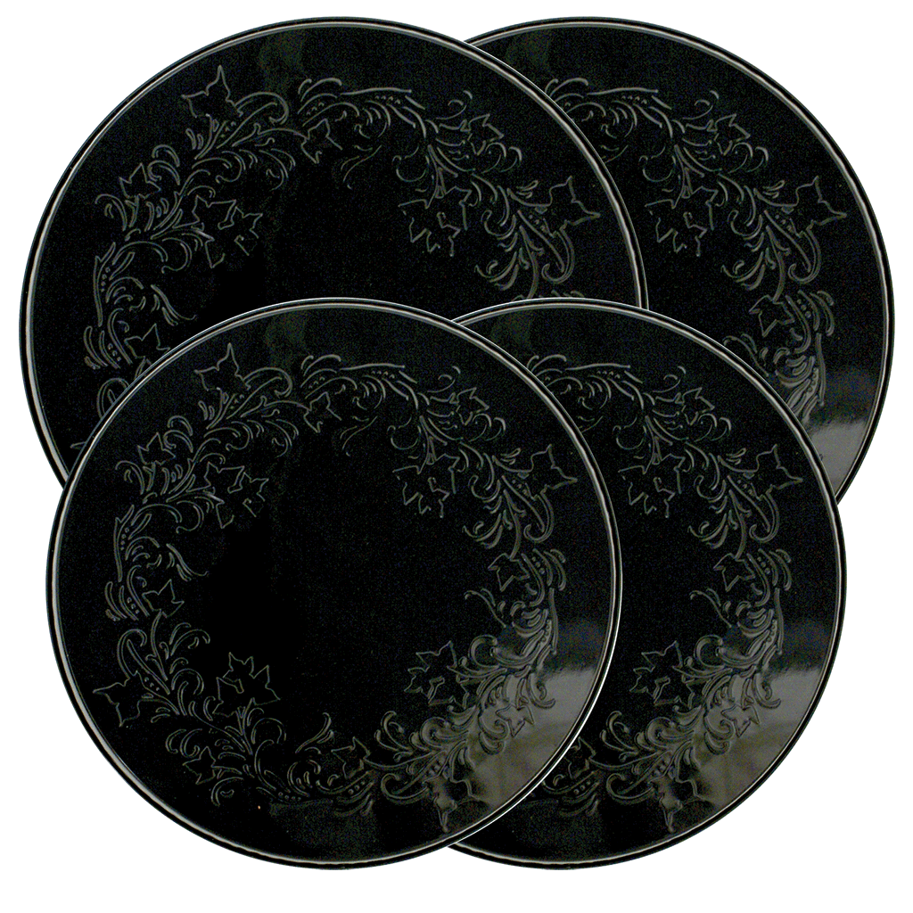 5056 Ivy Embossed Black 4-Pack Licensed Round Burner Cover Set (c)Joanne Fink