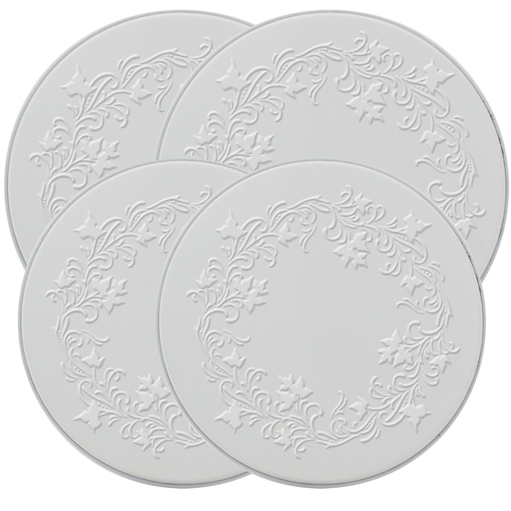 5057 Ivy Embossed White 4-Pack Licensed Round Burner Cover Set (c) Rebecca Baer