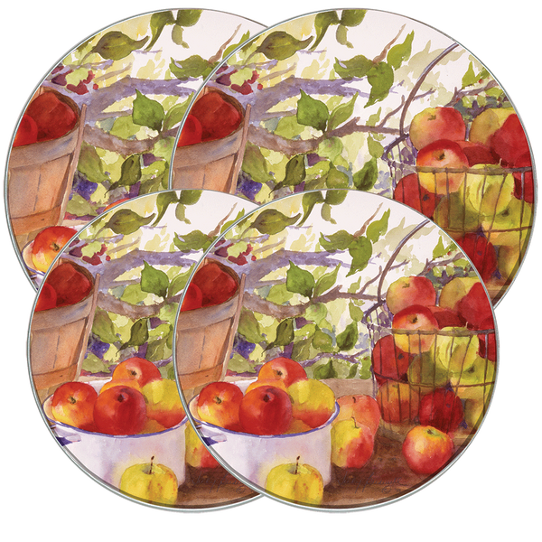 5059 - Apple Harvest - 4 Pack Licensed Round Burner Kover Set 2 Small/2Large (c) Judy Buswell