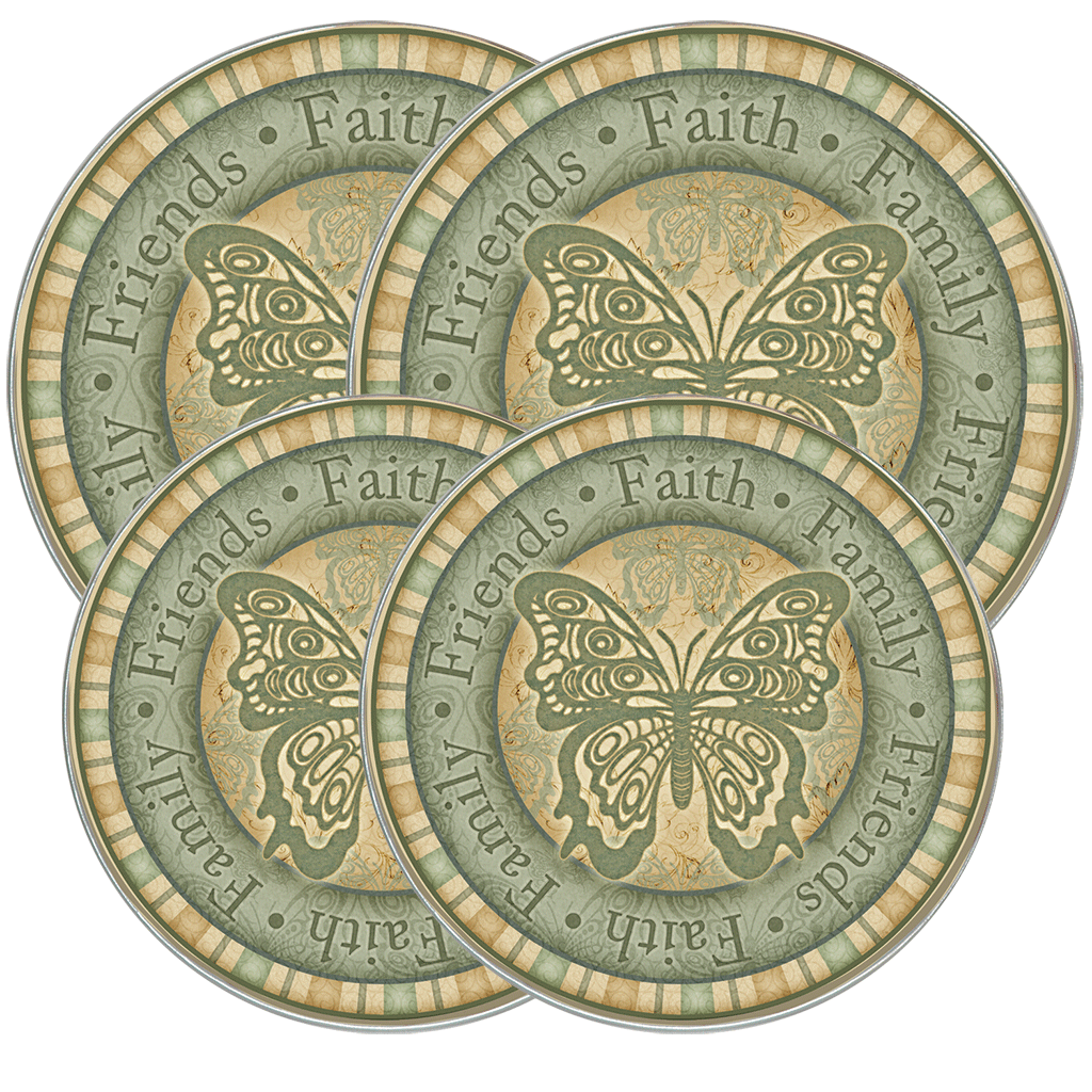 5061 - Garden Butterfly - 4 Pack Licensed Round Burner Kover Set 2 Small/2 Large (c) Angela Anderson