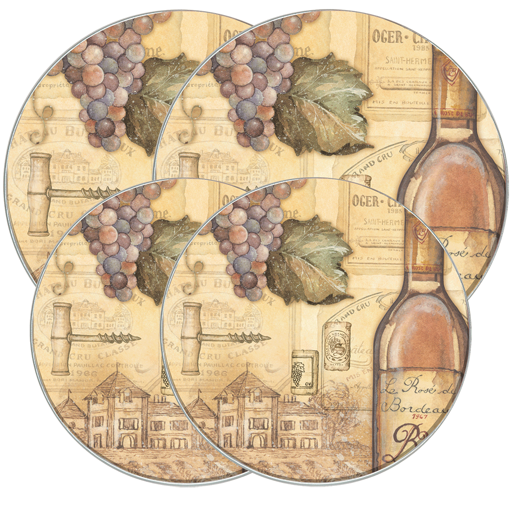 5062 - Tuscany Wine - 4 Pack Licensed Round Burner Kover Set 2 Small/2 Large (c) Charline Audrey