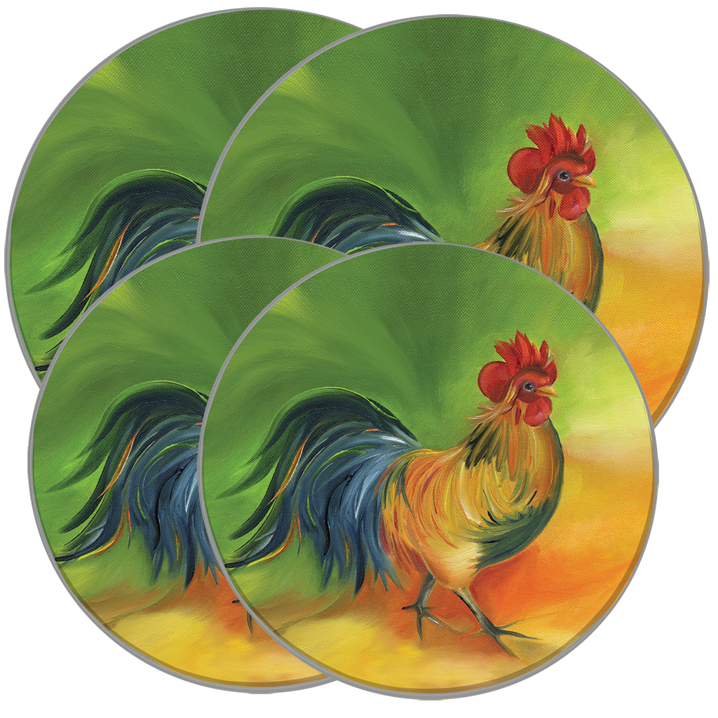 5078 4-Pack Rooster Doodledoo ©Amy Hautman Burner Kovers - FINAL SALE!