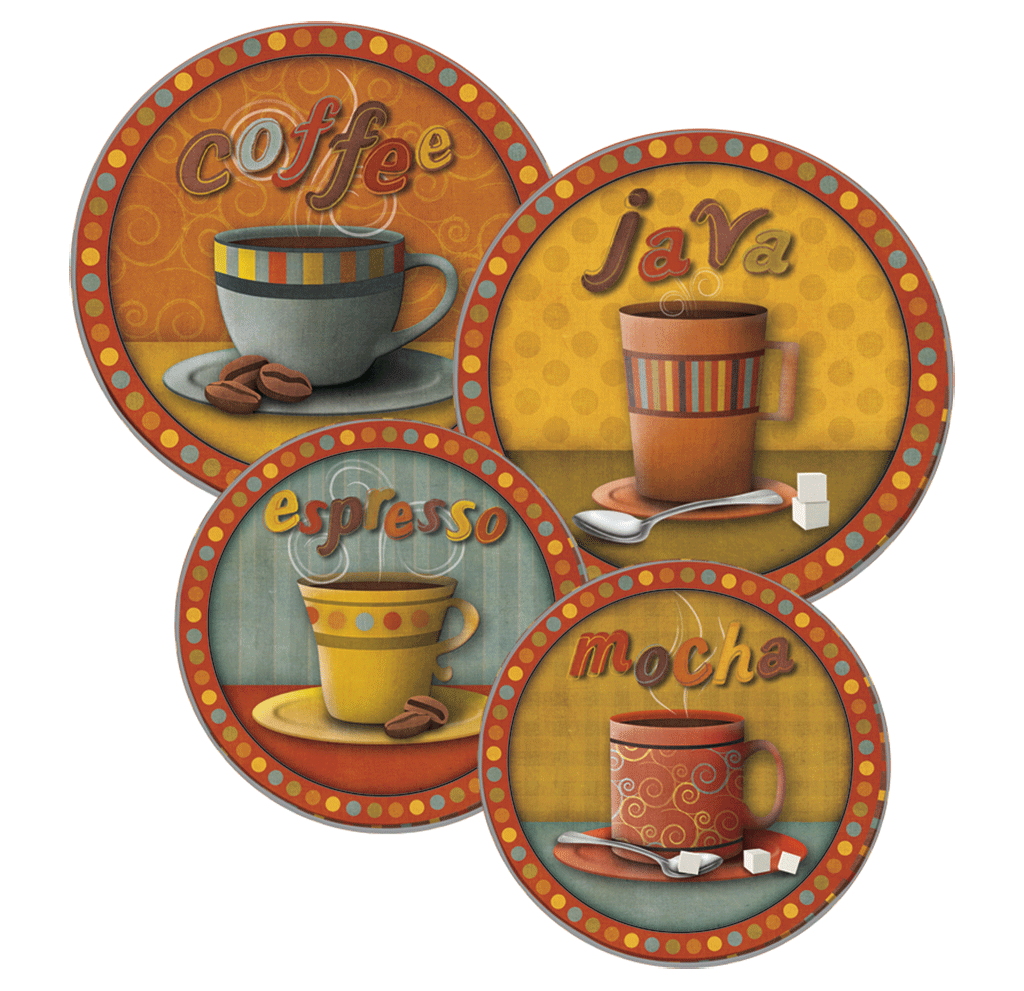 5083 - Morning Refreshments (c) SD Graphics Studio - 4 Pack Round Burner Kover Set 2 Small/2 Large