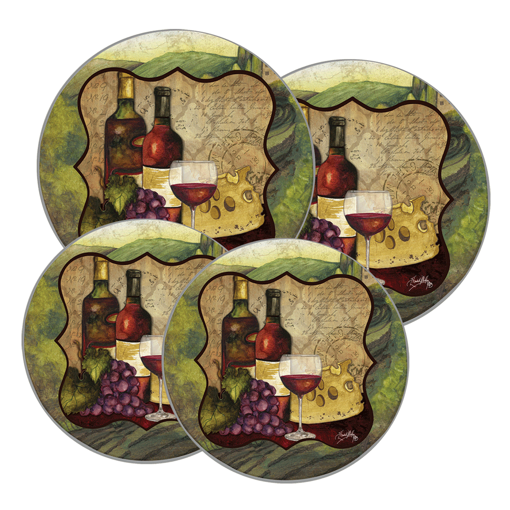 5091 - Wine Enthusiast (c) Elizabeth Medley courtesy of Sun Dance Graphics - 4 Pack Round Burner Kover Set 2 Small/2 Large