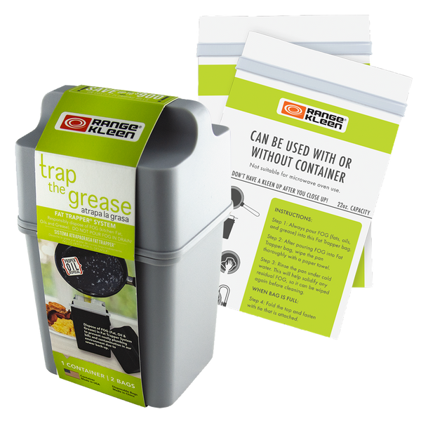 600-02G Trap the Grease: Gray Fat Trapper® with 2 Grease Disposable Bags Range Kleen