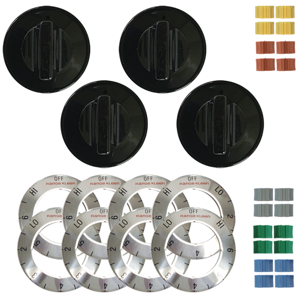 8114 Universal 4 Pack Black Replacement Knob Kit Electric Stove/Range