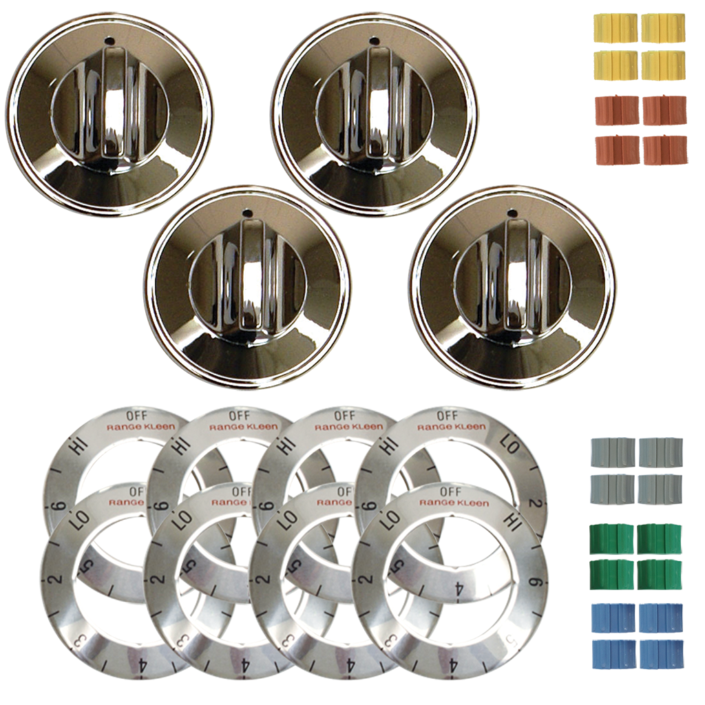 8124 Universal 4 Pack Chrome Replacement Knob Kit Electric Stove/Range