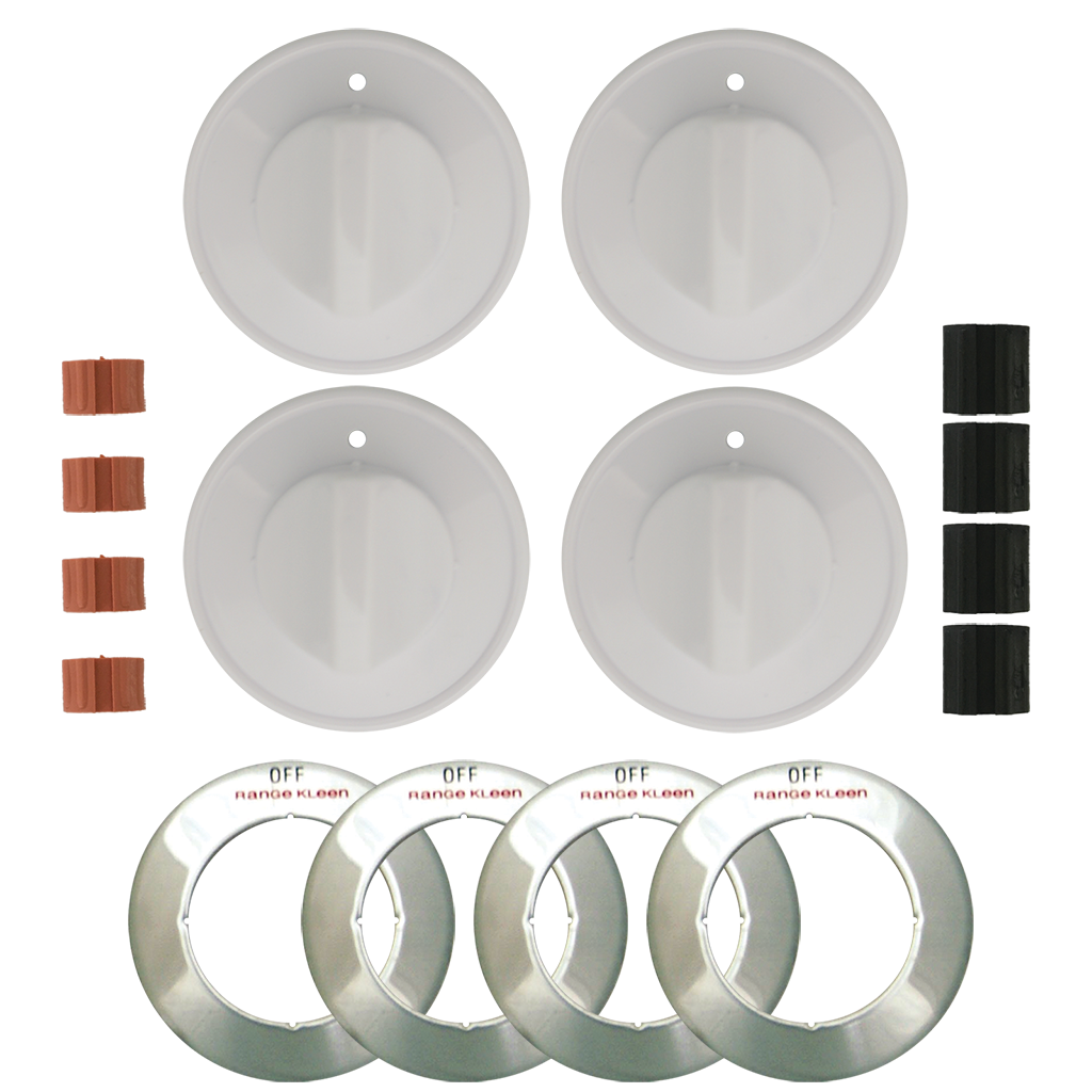 8234 Universal 4-Pack White Replacement Knob Kit Gas Stove  Range Kleen