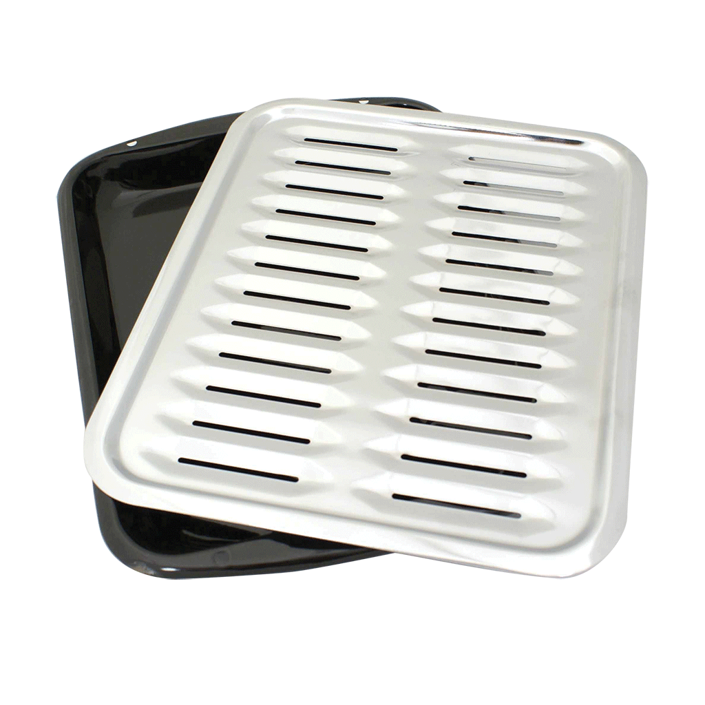 BP100  - 2-Piece Heavy Duty Porcelain and Chrome Plated Full Size Broiler Pan