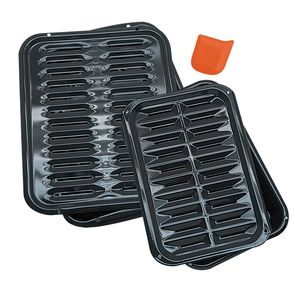 BP1026X2 5-Piece Heavy Duty Broiler Pan Set with Scrape and Kleen