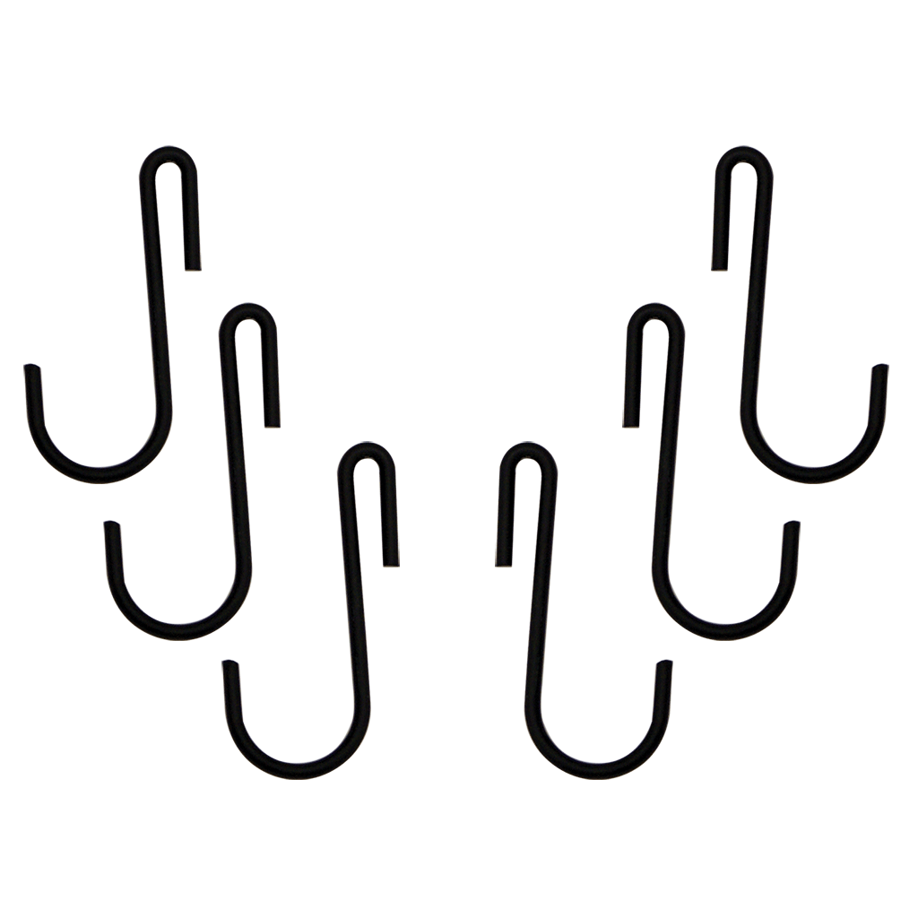 C31 6-Piece Black Enamel Pot Rack Hooks Range Kleen