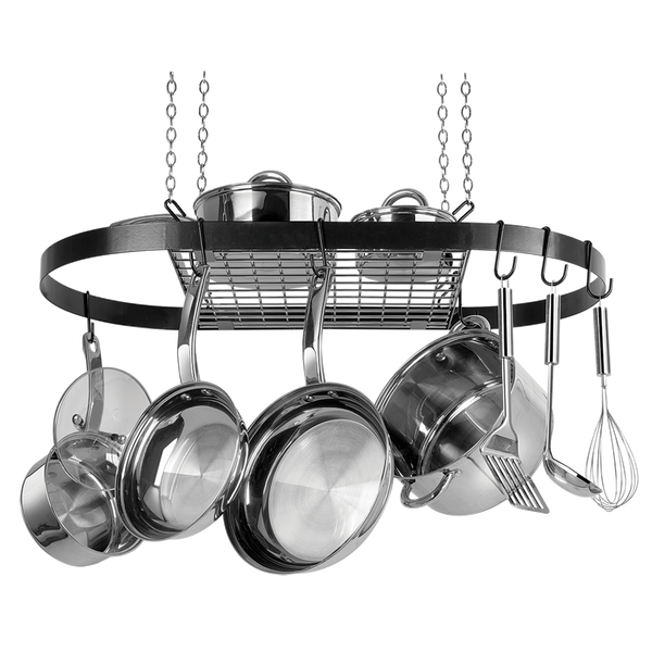 CW6000R Black Enameled Steel Oval Hanging Pot Rack Range Kleen