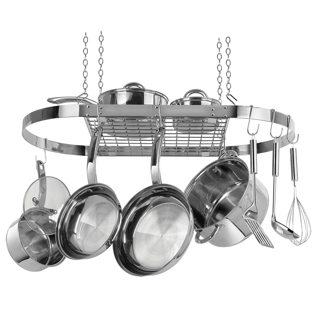 CW6001 Stainless Steel Oval Hanging Pot Rack Range Kleen