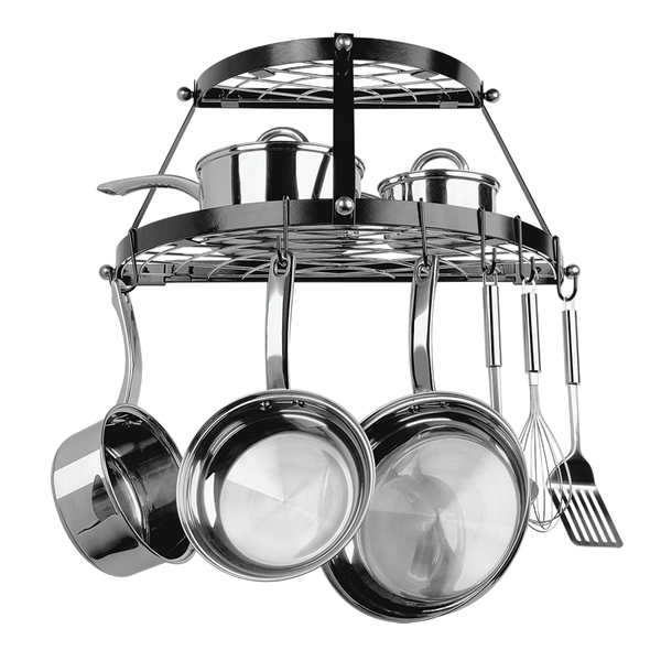 CW6002 Black Enameled Double Shelf Wall Mounted Pot Rack Range Kleen