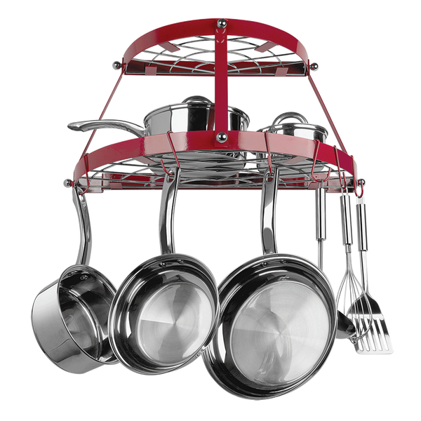 CW6003R - Red Enameled 2 Shelf Wall Mounted Pot Rack