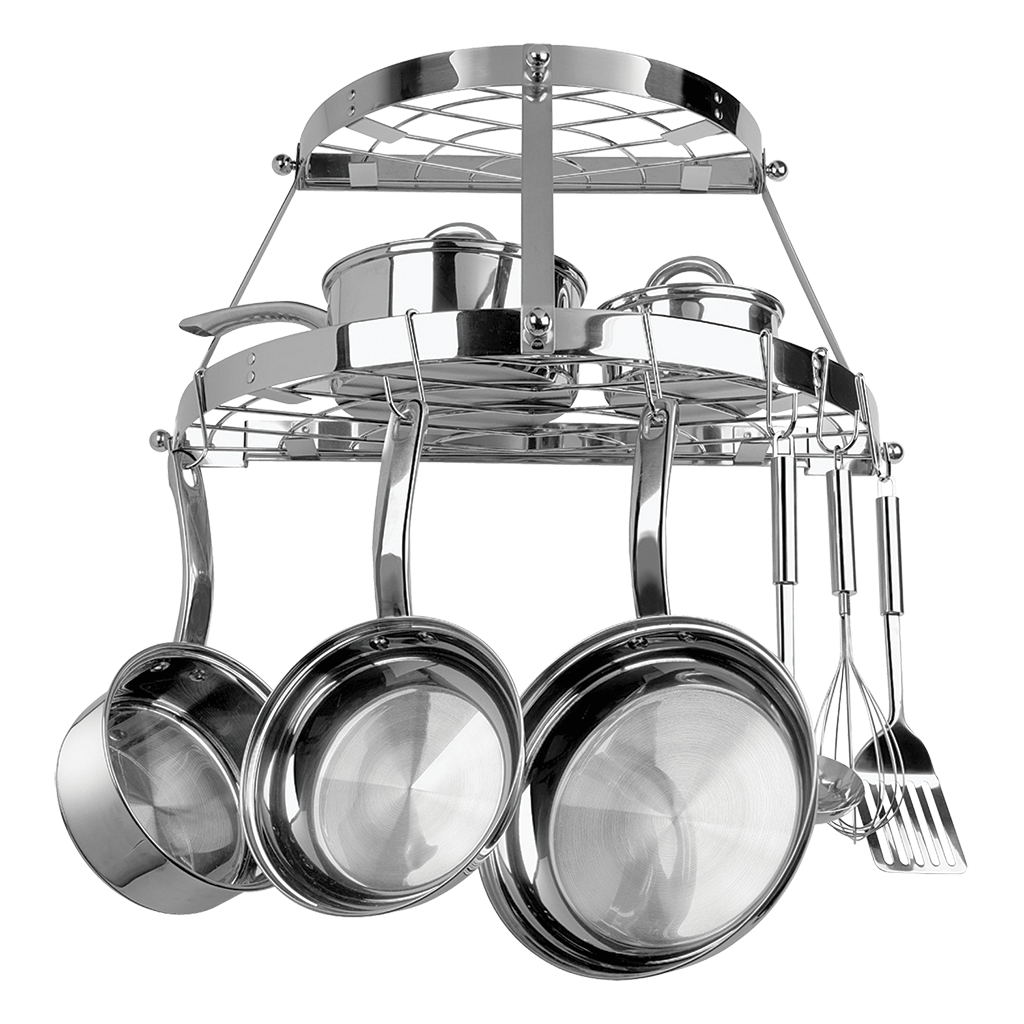 CW6004R - Stainless Steel 2 Shelf Wall Mounted Pot Rack
