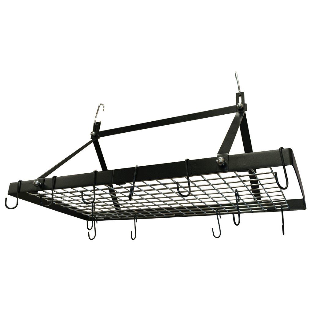 hanging pot rack cw6013 black enameled rectangle hanging pot rack range 29521