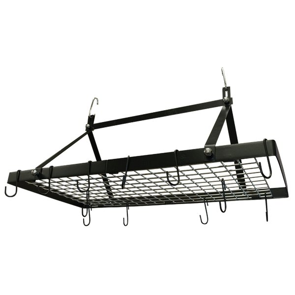 CW6013 - Black Enameled Rectangle Hanging Pot Rack