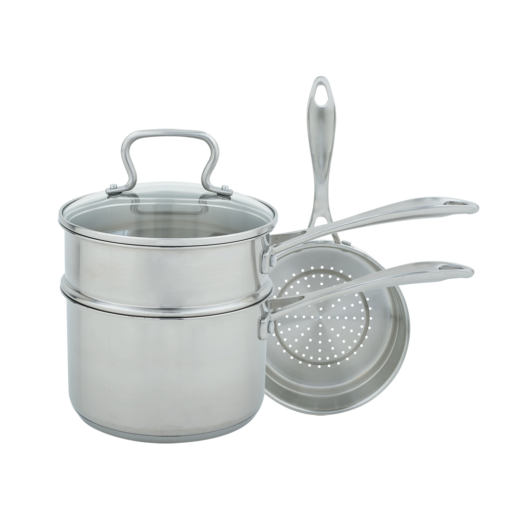 CW7100 Specialty 3 Quart Covered Sauce Pan with Double Boiler and Steamer Insert Range Kleen