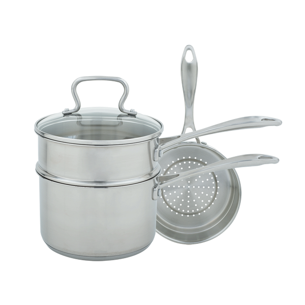 CW7100 - Specialty 3 Qt Covered Sauce Pan with Double Boiler & Steamer Insert