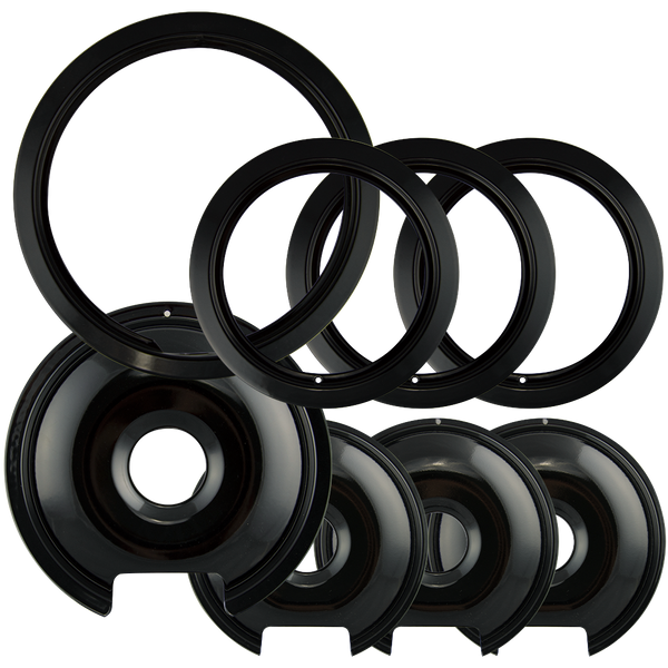 P1056RGE8Z - Style D Heavy Duty Black Porcelain 4 Pack Drip Pans, 4 Pack Trim Rings 3 Small/1 Large