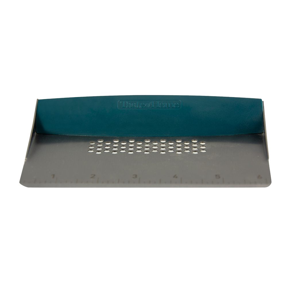 Taste of Home Bench Scraper with Sea Green handle, Front view, white background