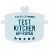Light blue Taste of Home Test Kitchen Approved logo on white background