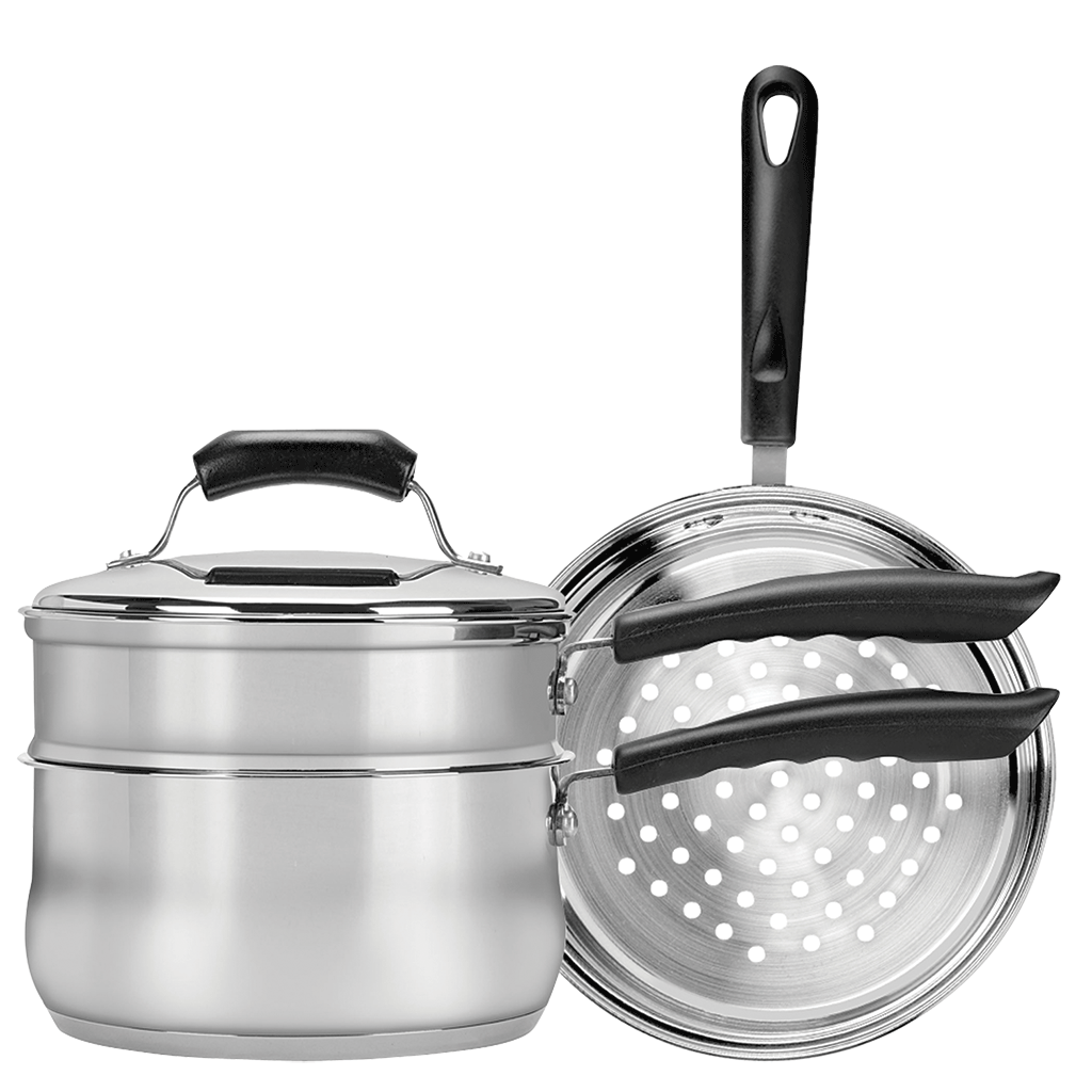 CW2011R Range Kleen Basics 3 Quart Covered Sauce Pan with Double Boiler & Steamer Insert