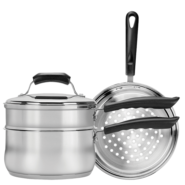 CW2011R - Basics 3 Qt Covered Sauce Pan with Double Boiler & Steamer Insert