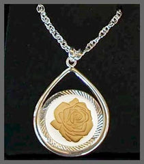 Fine Select Plating On Rose Coin Pendant