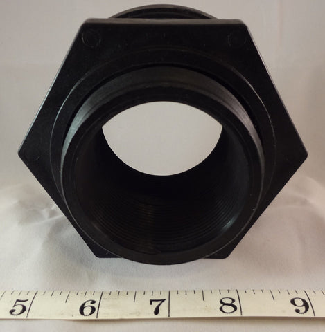 "2.00"" Bulkhead Fitting, NPT Threaded, Black, 2 Inch"