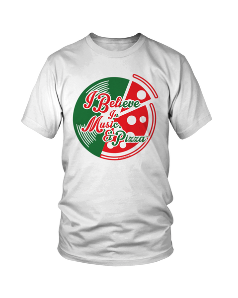 I Believe In Music. And Pizza /Grab A Slice® 2 Sided T Shirt & Two 4 Song CD Stimulus Package