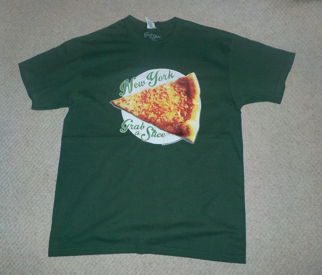 New York Grab A Slice® Short Sleeve Sport Green T & Two 4 Song CDs Stimulus Package! Large & XL