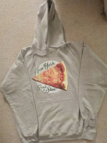 New York Grab A Slice®  Hoodie Grey ,Two 4 Song CDs Stimulus Package. One Large Left.