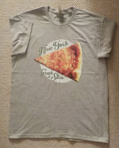 New York Grab A Slice® T Shirt, Sport Grey, & Two 4 Song CD Stimulus Package. Large & XL.