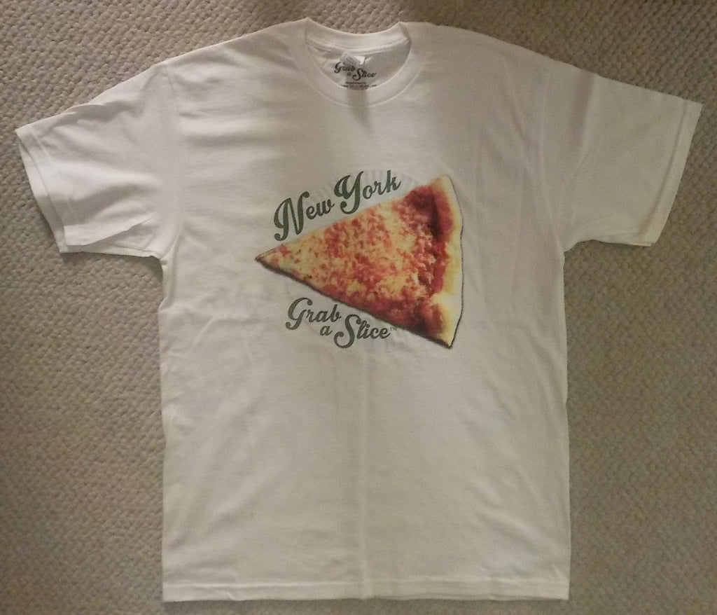 New York Grab A Slice® Short Sleeve White T & Two 4 Song CDs Stimulus Package! Large & XL