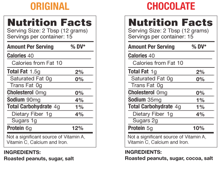 chike powdered peanut butter nutrition facts