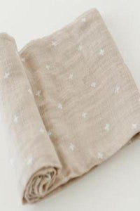 Little Unicorn Cotton Muslin Swaddle - Taupe Cross